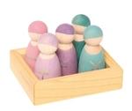 Afbeeldingen van 5 vrienden pastel gekleurd Grimm's