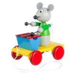 Afbeeldingen van Trekfiguur xylofoon muis in groen jasje