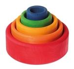 Afbeeldingen van Grimm's stapelbakjes 5 stuks regenboogkleuren