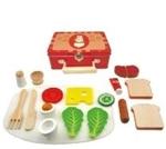 Afbeeldingen van Ontbijtset koffertje blik met houten spulletjes