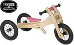 Afbeeldingen van Trybike houten 2 en 3-wieler loopfiets 2-in-1, roze zadelhoesje en kinbeschermer