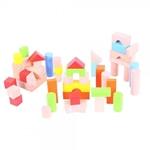 Afbeeldingen van Blokkenton 50 gekleurde en blank houten blokken Bigjigs