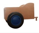 Afbeeldingen van Aanhanger voor blauwe kinder-loopfiets berkenhout Van Dijk Toys