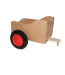 Afbeeldingen van Aanhanger voor rode kinder-loopfiets berkenhout Van Dijk Toys