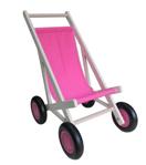 Afbeeldingen van Poppenbuggy hout roze berkenmultiplex Van Dijk Toys