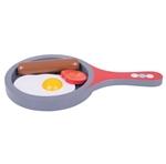 Afbeeldingen van Houten speel-koekenpan met ei, worstje en tomaat Bigjigs