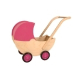 Afbeeldingen van Poppenwagen naturel met vaste roze kap hout van Dijk Toys