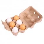 Afbeeldingen van Eierdoosje, 6 witte/bruine houten speel-eieren Bigjigs