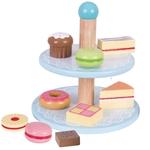 Afbeeldingen van Speel-taartjesstandaard hout met 9 taartjes Bigjigs