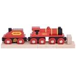 Image de Rode locomotief met kolentender houten treinbaan Bigjigs