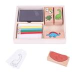 Afbeeldingen van Stempel en kleur kistje Dino