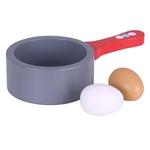 Afbeeldingen van Houten speel-steelpannetje met 2 eieren Bigjigs
