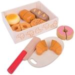 Afbeeldingen van Kratje met snij-brood hout Bigjigs