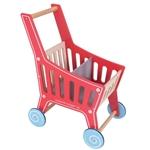 Afbeeldingen van Speel-winkelwagen rood/blank hout Bigjigs
