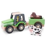 Afbeeldingen van Tractor degelijk met aanhanger en 2 dieren