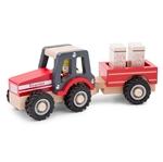 Afbeeldingen van Houten tractor met aanhangwagen vol hooibalen
