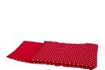 Afbeeldingen van Poppen-dekje -dekbed- slaapzak voor wieg, poppenbed en poppenwagen rood met witte stippen geruit 96x 32 cm Van DijkToys