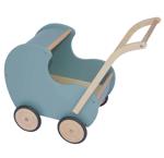 Afbeeldingen van Poppenwagen vintage blauw-groen hout Van Dijk Toys