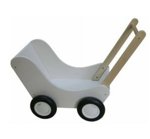 Afbeeldingen van Moderne poppenwagen wit hout Van Dijk Toys