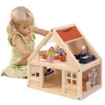 Afbeeldingen van Open poppenhuis inclusief meubels en bewoners