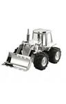 Afbeeldingen van Spaarpot Tractor Buldozer 14 cm Verzilverd gelakt