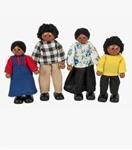 Afbeeldingen van Poppenhuispoppetjes Afrikaanse familie 4 stuks Tidlo