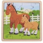 Afbeeldingen van Bigjigs Paarden legpuzzel in frame 16 stukjes