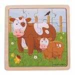 Afbeeldingen van Bigjigs Koeien Legpuzzel in frame 16 stukjes