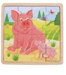 Afbeeldingen van Bigjigs Varkens legpuzzel in frame 16 stukjes