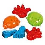 Afbeeldingen van Zandvormpjes Fritz, handen, voeten en gezicht 6 delig strand-waterspeelgoed Gowi