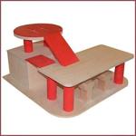 Afbeeldingen van Houten speelgoed auto garage met helikopterdek rood Van Dijk Toys  Vanaf 2 jaar