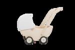 Afbeeldingen van Poppenwagen naturel- en witte beweegbare kap Hout Van Dijk Toys