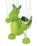 Afbeeldingen van Goki Marionette Dinosaurus Hout Totaal 38 cm diertje 16 cm