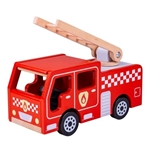 Afbeeldingen van Brandweerauto hout met ladder Bigjigs
