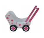 Afbeeldingen van Moderne poppenwagen wit met roze stippen Hout Van Dijk Toys