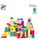Afbeeldingen van 100 stuks bouwblokken hout gekleurd Woody