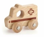 Afbeeldingen van Grijpauto hout naturel Ambulance - Vigatoys