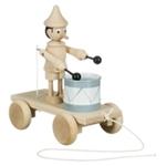Afbeeldingen van Trekfiguur Pinokkio met trommel blank beukenhout