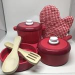 Afbeeldingen van Houten pannenset (8-delig)  rood