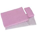 Afbeeldingen van Poppen bedsetje dekbed, laken en kussen roze ruit