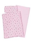 Afbeeldingen van Poppenbedsetje dekje, matras en kussentje roze met hartjes en kroontje