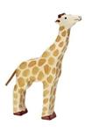 Bild von Giraffe kop omhoog etend Holztiger