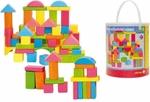 Afbeeldingen van Bouwblokken gekleurd 75 stuks in ton Woody