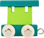 Bild von Lettertrein gekleurd aanhanger blauw groen, lichte wielen