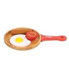 Afbeeldingen van Houten speel-ontbijtset , pan met ei, tomaat en worstje Bigjigs