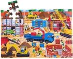 Afbeeldingen van Vloerpuzzel hout Bouwplaats 48 stukjes