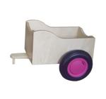 Afbeeldingen van Aanhanger voor oranje kinder-loopfiets berkenhout Van Dijk Toys