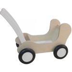 Afbeeldingen van White wash Combi Poppenwagen - Leren loopwagen-Blokkenduwwagen Van Dijk Toys