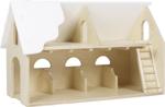 Afbeeldingen van Speelboerderij hout wit dak en trap 1+ 75x 30x 45 cm Van Dijk Toys