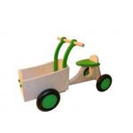 Afbeeldingen van Groene houten bakfiets vierwieler-kinderloopfiets -Van Dijk Toys